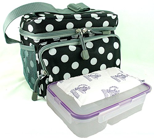 Everest Insulated Lunch Tote Cooler Bag with Snapware Leakproof, Easy-Open Bento Box, and Nordic Ice 8 oz Freezer Ice Pack. Reusable for Kids, Teens, and Adults. Bundle 3 Items (BLACK DOT) - 1