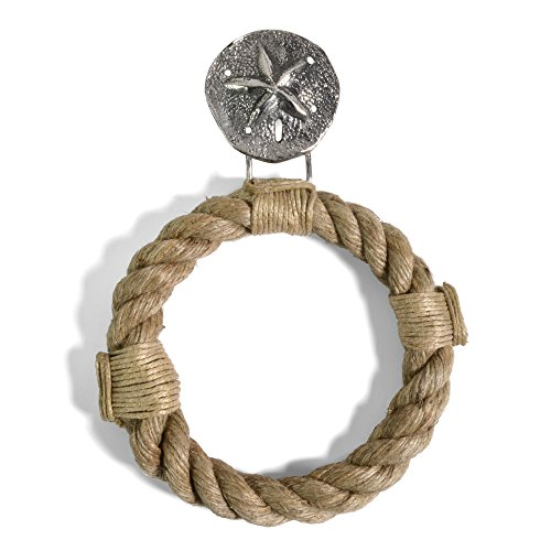 Mud Pie 4711014SD  Sand Dollar Rope Towel Ring, Antique Silver