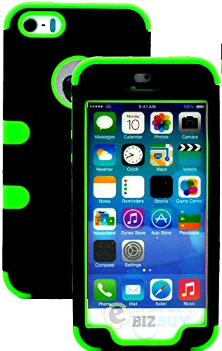 Mylife (Tm) Lime Green And Black - Classic Series (Neo Hypergrip Flex Gel) 3 Piece Case For Iphone 5/5S (5G) 5Th Generation Itouch Smartphone By Apple (External 2 Piece Fitted On Hard Rubberized Plates + Internal Soft Silicone Easy Grip Bumper Gel + Lifet
