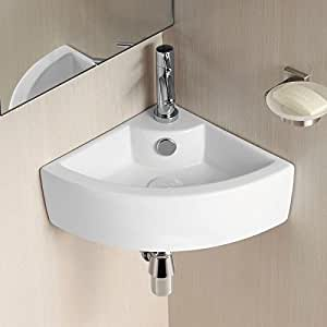 Cloakroom Corner Sink : 465mm BATHROOM WALL HUNG CLOAKROOM CERAMIC COMPACT CORNER BASIN SINK ...