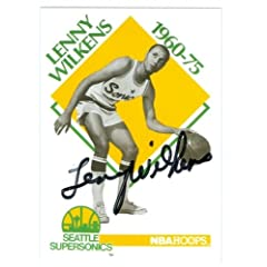Lenny Wilkens Autographed Hand Signed Basketball Card (Seattle Sonics) 1991 NBA Hoops...