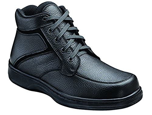 06. Orthofeet Highline Mens Extra Depth Orthopedic Arthritis And Diabetic Lace Boot Black Leather