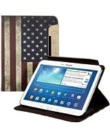 kwmobile Housse en cuir synthétique chic pour Samsung Galaxy Tab 3 10.1 P5200 / P5210 / P5220 en avec fonction support pratique et Motif drapeaux (USA)