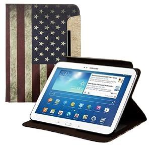 kwmobile® Kunstledertasche für das Samsung Galaxy Tab 3 10.1 P5200 / P5210 / P5220 in mit praktischer Ständerfunktion und Flaggen Design (USA)