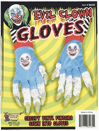 Popcandy Evil Killer Clown Creepy Gloves Scary Long Finger Nails (Killer Prop)