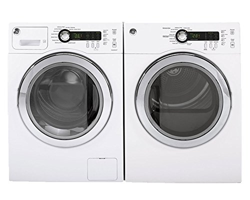 GE White Compact Front Load Laundry Pair with WCVH4800KWW 24