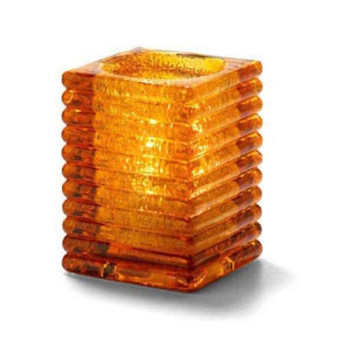 Hollowicks Block Amber Jewel Horizontal Rib Glass Lamp, 4 1/8 inch Height -- 1 each.