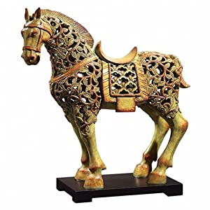 Uttermost Chunar Horse Sculpture Sculpture in Soft Cinnamon Red and Verde Patina 19455