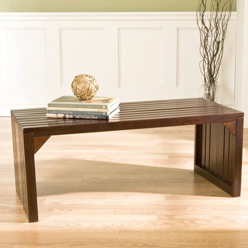 SEI Espresso Slatted Sitting Bench/Coffee Table