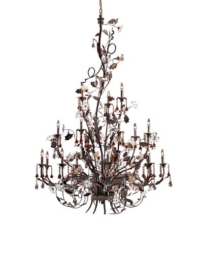 Artistic Lighting 18-Light Hand Blown Florets Chandelier, Deep Rust
