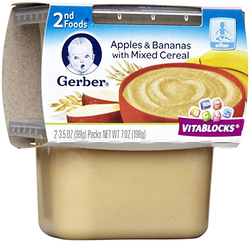 Gerber 2nd Foods, Apple & Banana with Mixed Cereal, 2-Count, 3.5-Ounce Containers (Pack of 8)