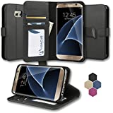 Abacus24-7 Samsung Galaxy S7 Edge Leather Wallet Case w/ Flip Stand, Black