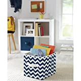 Collapsible Fabric Storage Cube Bins Stores Your Magazines, Trinkets, Toys for Office or Classroom, Kitchen, Bathroom, Child's Room, Bedroom, Closet Organizer, Nursery or Craft Room Made of 100% Polyester Set of 2 (Navy Chevron)
