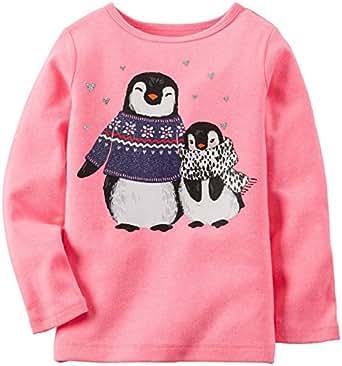 Amazon com carter s little girl s graphic top toddler kid penguin