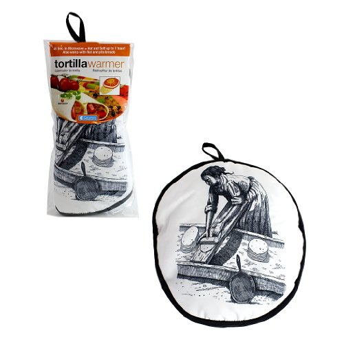 "Tortilla Warmer 12"" - Insulated Fabric Pouch By Camerons - Keeps Warm For One Hour After Just 45 Microwave Seconds (Lady)"