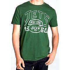 New York Jets NFL Mens Junk Food Vintage Kick Off Crew T-shirt Green by Junk Food