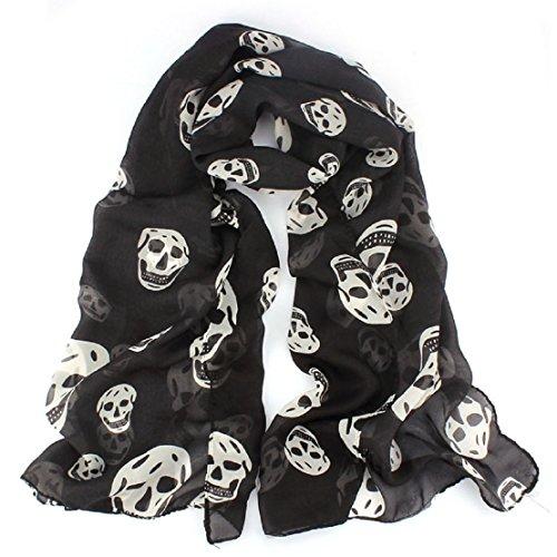 tongshi Womens Big Skull modello soft lunga sciarpa dello scialle stola dell'involucro (Bianco)