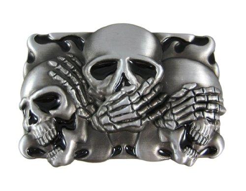 NO EVIL Skulls Pewter Finish Belt Buckle Gothic