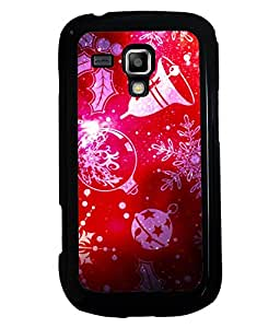 PRINTVISA Red-White Pattern Premium Metallic Insert Back Case Cover for Samsung Galaxy S Duos 2 S7582 - D6052