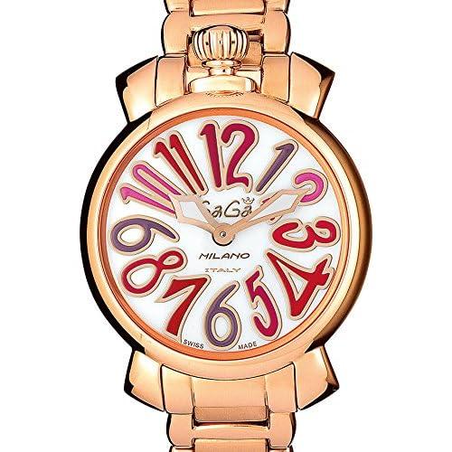 (ガガミラノ)GAGA MILANO 腕時計 マヌアーレ 35MM 6021.3 18K PGコーティング ブレスレット ホワイト マルチカラーダイアル ダイアル レディースサイズ [並行輸入品]