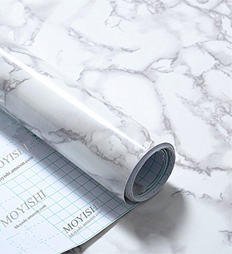 Grey Granite Look Marble Gloss Film Vinyl Self Adhesive Counter Top Peel and Stick Wall Decal 24''x79'' (Granite Countertop Wrap compare prices)