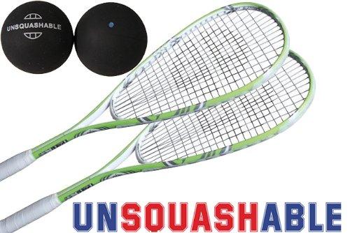 Unsquashable 2x DSP 400 Squashschläger inkl. Squashball Squashset !