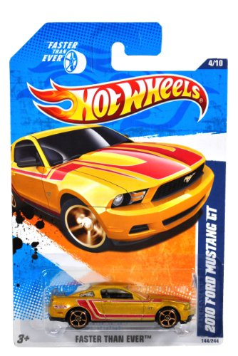 Mattel Year 2010 Hot Wheels Faster Than Ever Series Set (4/10) 1:64 Scale Die Cast Car (144/244) - Gold Color Modern Sport Coupe 2010 FORD MUSTANG GT - 1
