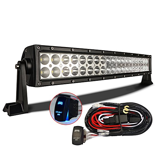 MICTUNING 22 120W- 3B139C -Curved LED Work Light Bar Combo Off Road Lamp w/ 12FT Rocker Switch Wiring Kit