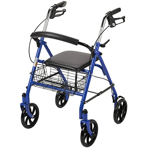 Drive Medical Four Wheel Rollator Walker, Blue