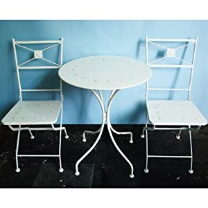 BISTRO - Metal Garden Table and Two Chairs - Cream