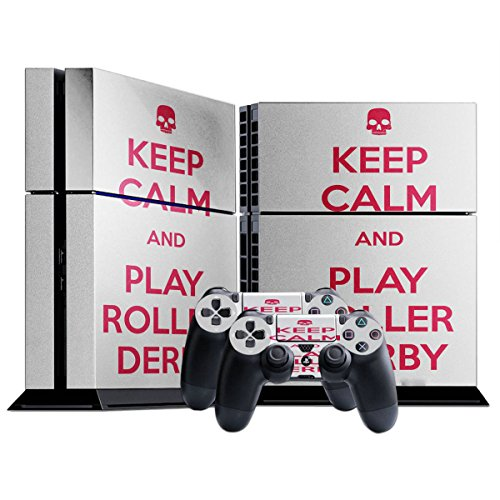 Keep Calm And Play Roller Derby, Skin Autoadesivo Sticker Adesivi Pelle Cover Decal Set con Disegno Strutturato con Playstation 4 CUH 1000 1100