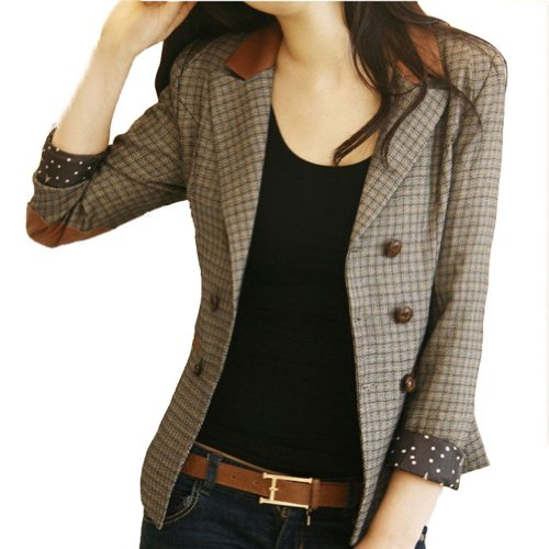 VOBAGA Vintage Style Double-Breasted Check Blazer Jacket Coat-xl
