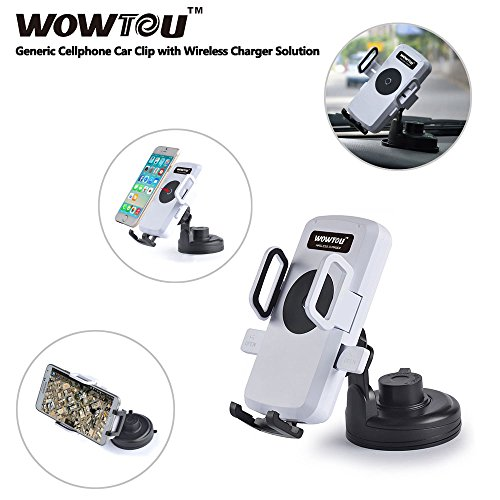Wowtou(Tm) 360' Rotation Car Cellphone Holder/Stand/Clip With Single Position Inductive Charger Wireless Charger Fuction For Iphone 5/5S/4S/4 Samsung Galaxy S5/S4/S3/Note 3/2; Nokia Lumia 1020, Lumia 920, Lumia 820; Htc Droid Dna, Htc 8X, Htc Rzound; Goog