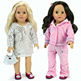 Choose to dress your doll up or down with this complete wardrobe from Sophia's. Includes a silver sequin tunic dress with silver purse and berry satin dress shoes, plus a light pink hooded sweatsuit with embroidery.