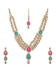 Lucky Jewellery Red And Green Gold Plated Kundan Jewellery Set For Women