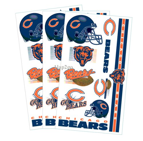 Chicago Bears Temporary Body Tattoos 3 Pack