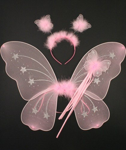 Pink And Silver Glitter Fairy Wings + Wand + Boppers IN8728