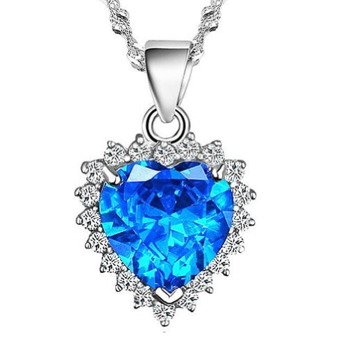 Chaomingzhen Charm Rhodium Plated 925 Silver Blue Zircon Heart of the Ocean Pendant Necklace From Titanic Necklace for Women Elegant Trendy Fashion Jewellery for Girlfriend 18