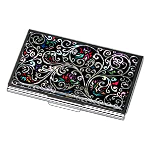 Antique Alive Mother of Pearl Arabesque Design Black Business Credit Case Holder Metal Stainless Steel Engraved Slim Purse Pocket Cash Money Wallet (B124)
