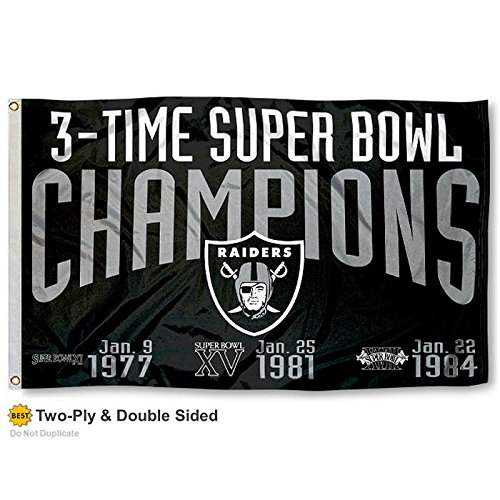 Oakland Raiders Double Sided 3 Time Super Bowl Champions Flag