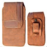 Brown Vertical Leather Swivel Holster Case Pouch Belt Clip For Samsung Apple iPhone Sony Ericsson Xperia LG HTC & Nokia Phones (For Samsung Galaxy Ace 2/ Ace 3)