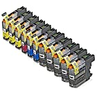 INKUTEN Compatible Brother LC103 LC-103 Set of 14 High Yield Ink Cartridges for Brother MFC-J870DW, MFC-J470DW, MFC-J475DW, MFC-J875DW, MFC-J650DW, MFC-J285DW, MFC-J6920DW, MFC-J450DW, MFC-J245, MFC-J6520DW, MFC-J6720DW Brother DCP-J152W.