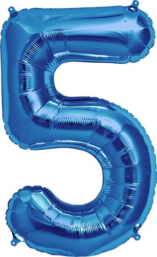 Number 5 - Blue Helium Foil Balloon - 34 inch