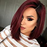 AISI HAIR Synthetic Bob Wig Ombre Short Wig Straight Burgundy Wigs for Black Women Two Tone Dark Roots Wig Heat Resistant Fiber Wig (Size:12 inch,Color:Burgundy) (Color: burgundy, Tamaño: medium)
