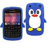 Penguin Silicone Skin Cover Case For Blackberry Curve 9350 9360 9370 / Blue
