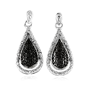0.15ct TDW White and Black Diamond Pear Shape Drop Earrings in Sterling Silver