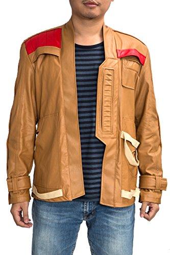 Finn Jacket PU Adults Brown Star Cosplay Wars 7 Pilot Coat Costume Custom Made 2XL