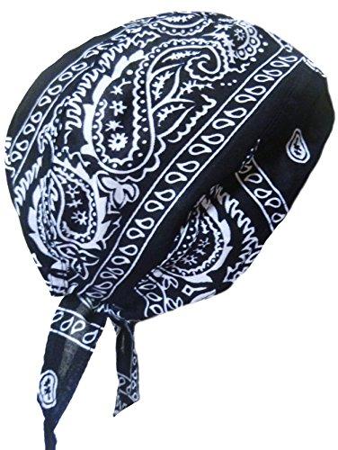 Black Paisley Doo Du Rag Head Wrap Band Skull Cap Motorcycle Biker