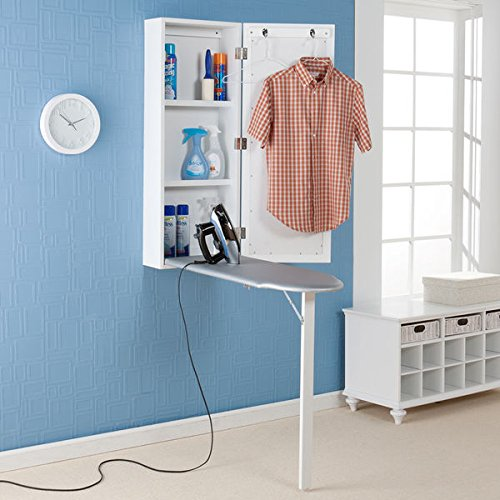 Upton Home Wall- Mounted Ironing Board and Storage Center Keeps Everything Conveniently Located in One Space- Saving Area