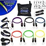 BODYLASTICS 14 PCS PREMIUM Resistance Bands Set. Includes 6 Best Quality ANTI-SNAP bands, heavy Duty Components: Anchors/Handles/Ankle Straps, and exercise training resources.